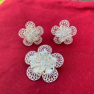 Blossom Flower Pendant & Earrings